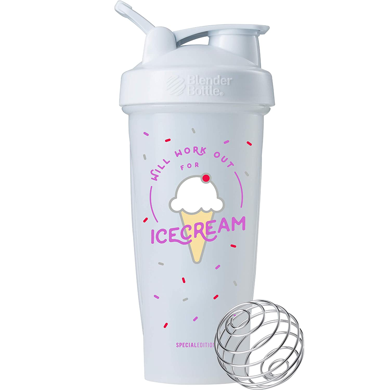 BlenderBottle Just for Fun Classic 28-Ounce Shaker Bottle, Will Work Out for Ice Cream