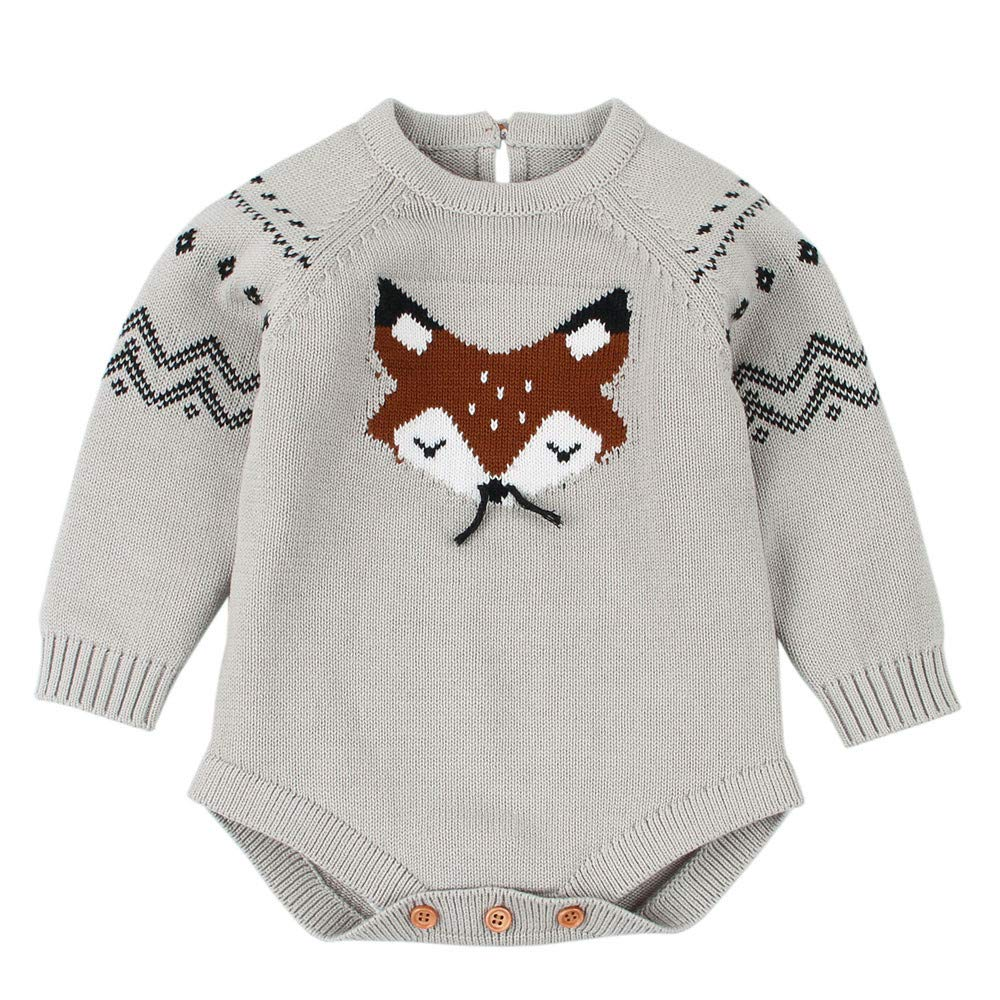 Newborn Infant Baby Boy Girls Knitted Sweater Fox Knit Jumper Romper Jumpsuit Outfits Sweater Onsie Clothes