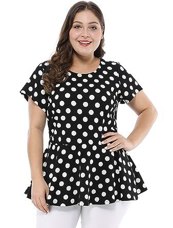 122119be7db87 Agnes Orinda Women s Plus Size Polka Dot Short Sleeve Summer Peplum Top  Black 1X