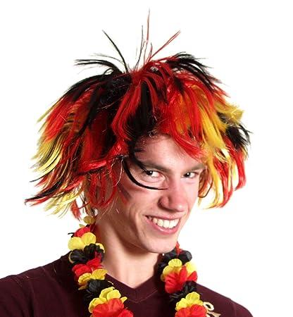 Punk peluca en Alemania colores negro rojo oro.