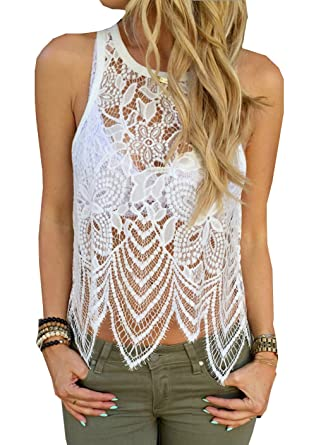 d21ae86db9fc8 WANGSCANIS Women White Crochet Lace Sleeveless Tank Crop Top Vest   Amazon.co.uk  Clothing
