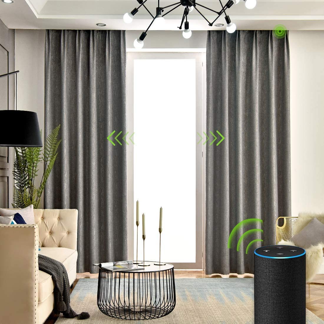 Yoolax Motorized Electric Blackout Curtain Texture Thermal Insulated Drapes Compatible with Alexa and Google Home Remote Control Smart Curtain Customized Grey, W156 XH95 Cover Area