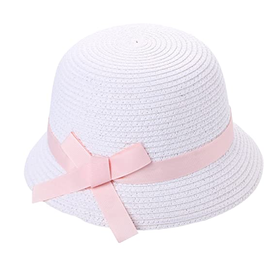Amazon.com  Fispo Girl s White Straw Hat with Bow  Clothing 63ce293959d0