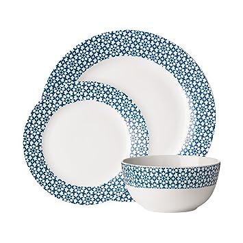 design intemporel 6a6fd 25225 Avie Service de table 24 pièces en porcelaine Bleu cuisine ...
