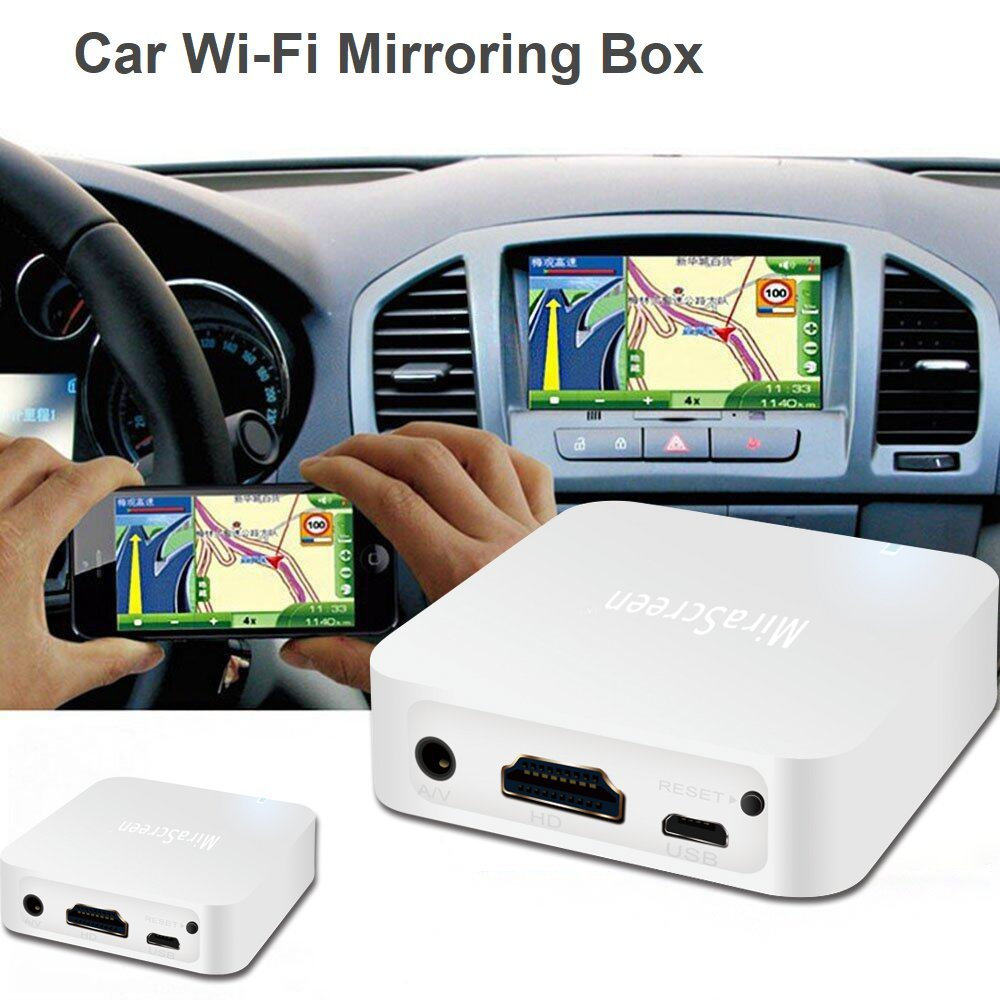 [Upgraded] Mini Car WiFi Display Box Share Phone to Car Display Airplay DLNA Mirroring Miracast Support iOS Android GPS Navigation with RCA(CVBS) and HDMI Output