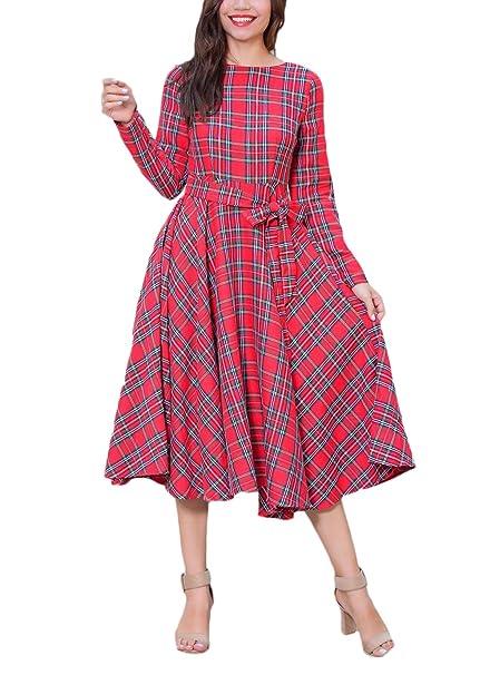 Vestidos Mujer Otoño Invierno De Fiesta Manga Larga Cuello Redondo Vintage Classic A Cuadros Elegantes Casual