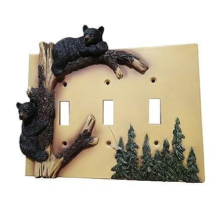 Black Bear Triple Switch Cover Home Decor - Wildlife Bear Climbing ...