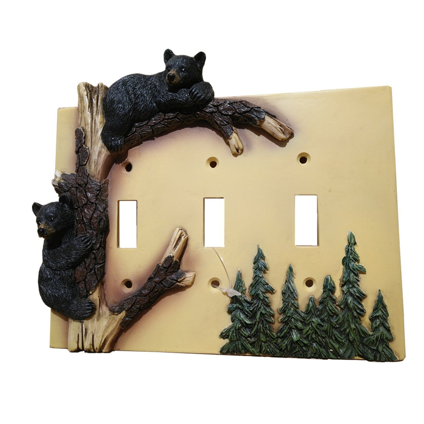 Black Bear Triple Switch Cover Home Decor - Wildlife Bear Climbing Tree Rustic Hunting with Wall Mounting Screws