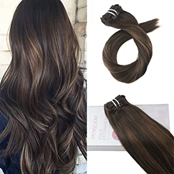 Moresoo 20 Zoll50cm Balayage Farben Clip In Hair Extensions Human Hair Echthaar Tressen Haarfarbe Ombre Schwarz 2 Darkest Brown To 6 Medium Brown