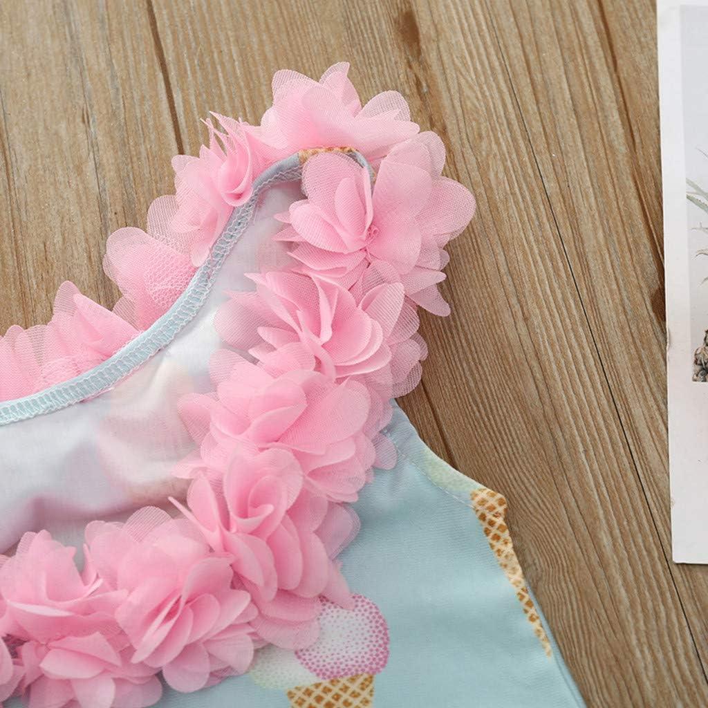 Heetey M/ädchen Badeanzug Kinder Kinder Baby M/ädchen Eiscreme Print R/üschen Blumen Badeanzug Bikini Strand Badeanzug Bademode Badeanzug Strand Badeanzug