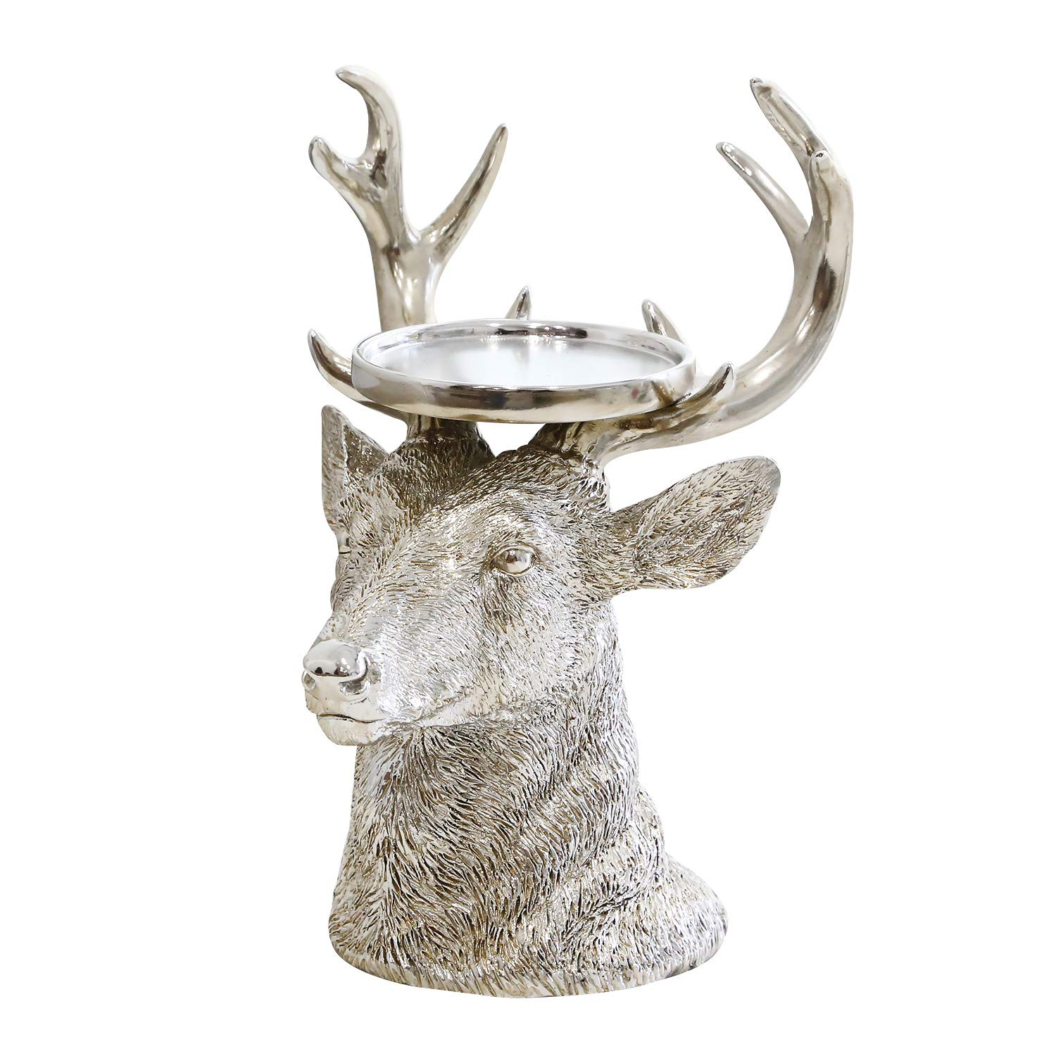GiveU Pillar Candle Holder Christmas Reindeer Figurines, 9'', Antique Silver Home Furnishing Crafts