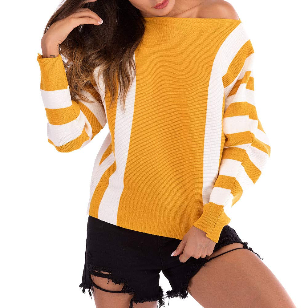 Jchen Women Loose Sweater Ladies Colorblock O Neck Long Sleeve Knitted Sweater Jumper Pullover Top Blouse TM