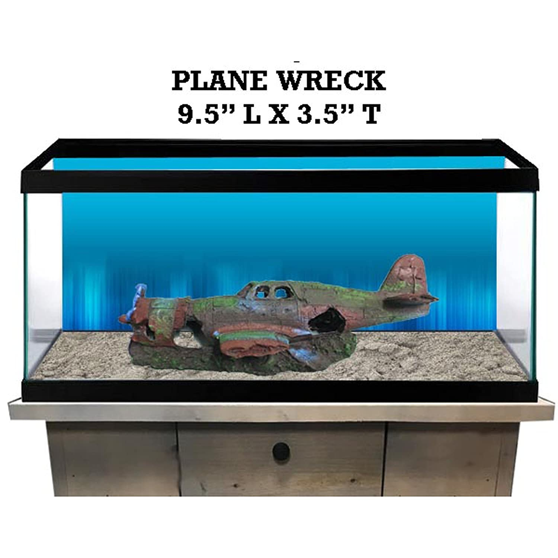 R&J Enterprises Plane Wreck Aquarium Decoration, Large, Assorted