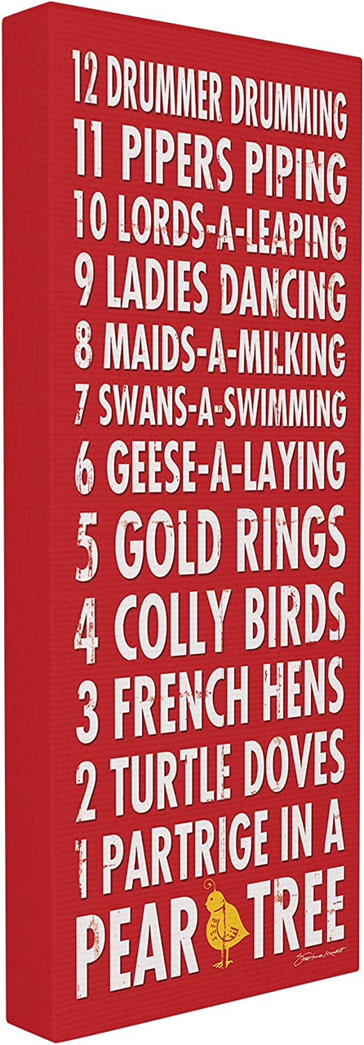 Stupell Industries 12 Days of Christmas Typography Canvas Wall Art, 10 x 24, Multi-Color