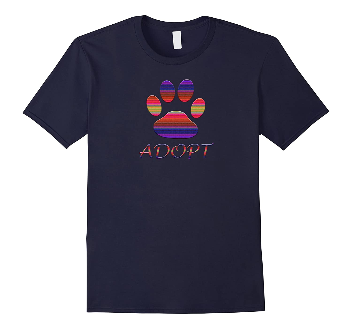 Adopt Animals Rescue Dog T Shirt Paw Print Colorful Design-TH