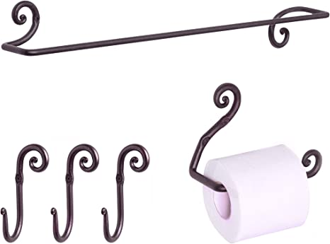 Amazon Com Rtzen Wrought Iron Bathroom Accessories Set Decorative Bath Towel Bar Set Of 3 Decorative Hooks And Toilet Paper Holder Home Kitchen