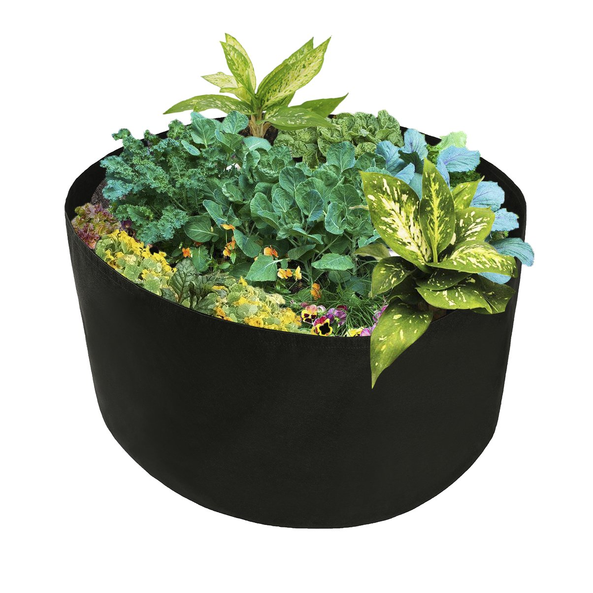 Mokylor 150-Gallon Extra Large Raised Bed, Round Grow Bag Diameter 46'' Height 22'' Made Of Growth Friendly Felt for Nursery Garden and Planting Grow (Black) by Mokylor