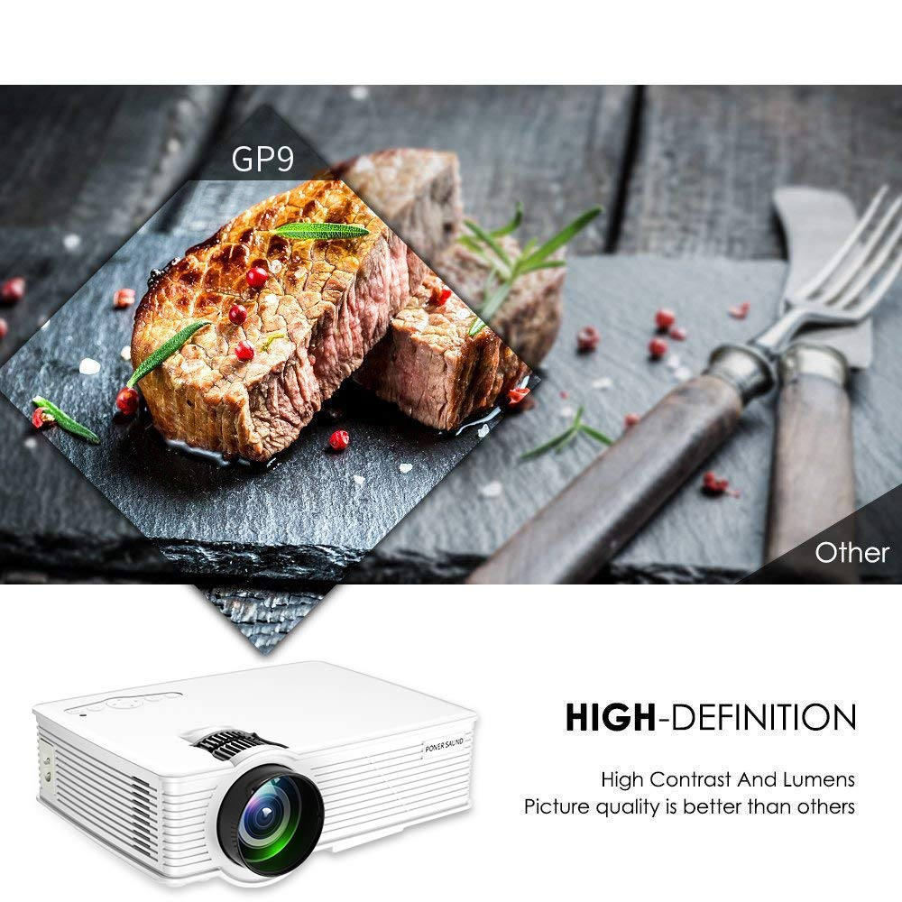 Mini Projector Portable, 1080P Supported 2000 Lux LED Mini Projector, PONER SAUND GP9 Video Projector with 170'' LCD, Compatible with Ipad, Fire TV Stick, PS4, HDMI, VGA, TF, USB, Chromecast by PONER SAUND (Image #4)