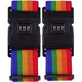スーツケース ベルト 2本 ロック付き ワンタッチ式 ポリエステル 長さ調整できる 紛失盗難防止 出張旅行用品 安全 荷物固定 目立つカラー トランクベルト (虹色)