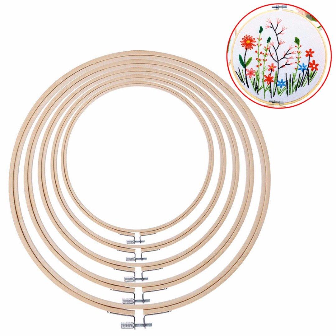 5PCS DIY Embroidery Hoop set Bamboo cerchio punto croce Hoop anello 15cm ~ 26cm PTPTRATE