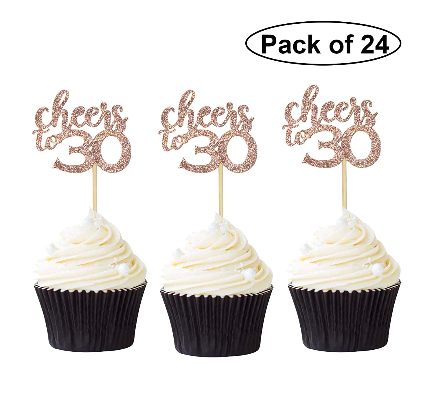 30th Birthday Cupcake Toppers Glittery Light Purple Number 30 Pack of 10