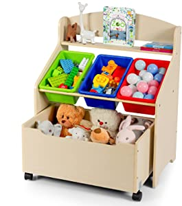 Costzon Kids Toy Storage Organizer Cabinet with Rolling Casters, Removable Book Shelf for Kids, Furniture Set Storage Unit with 3 Bins, Preschool/Homeschooling Mobile Organizer Shelf (Natural)