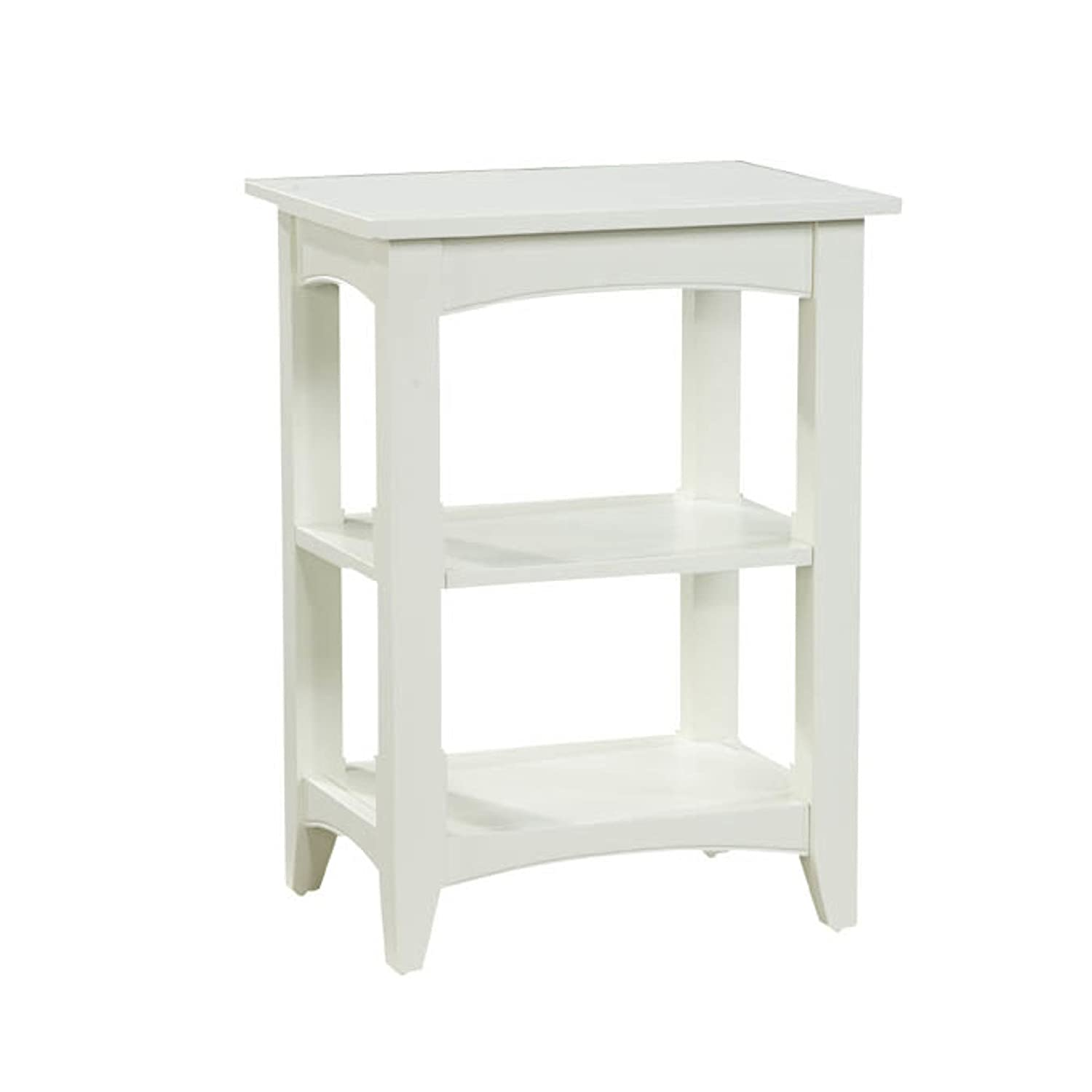 Shaker Cottage End Table with 2 Shelves, Ivory