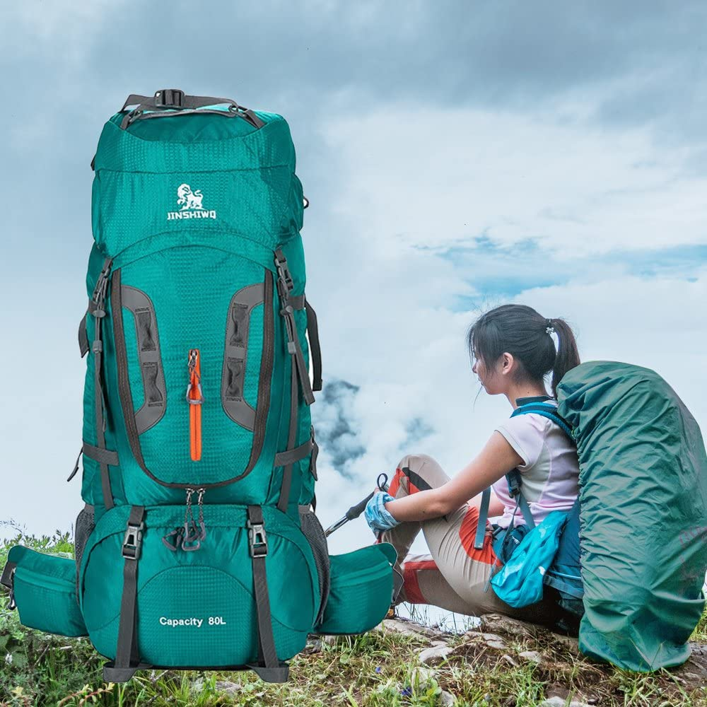 Eele EOPTION 80L Outdoor Sports Large Aluminium Alloy Backpack with Rain Cover for Camping Hiking