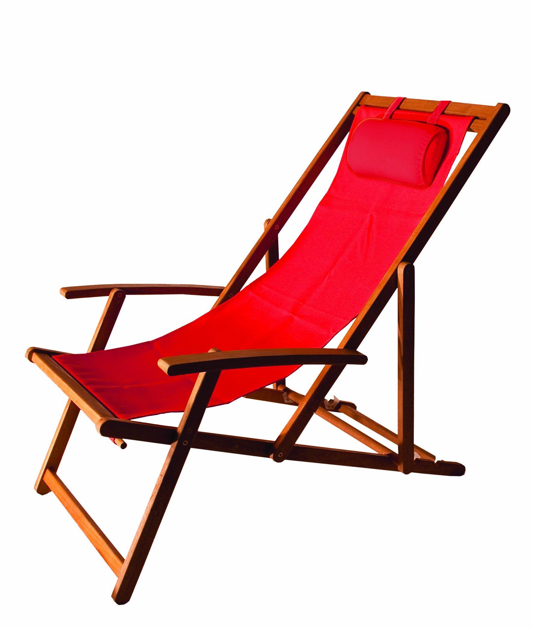 ARBORIA Foldable Outdoor Wood Sling Chair Eucalyptus Hardwood, Red