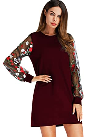 13cc60289a74 DIDK Women's Round Neck Floral Embroidered Mesh Long Sleeve Dress at ...
