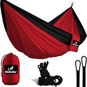 MalloMe Camping Hammock with Ropes - Double & Single Tree Hamock Outdoor Indoor 2 Person Tree Beach Accessories Ð Backpacking Travel Equipment Kids Max 1000 lbs Capacity - Two Carabiners Free