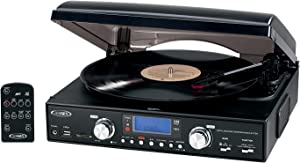 Jensen Professional 3-Speed Stereo Turntable with MP3 Encoding System and AM/FM Stereo Radio, Built-in Stereo Speakers, Remote Control