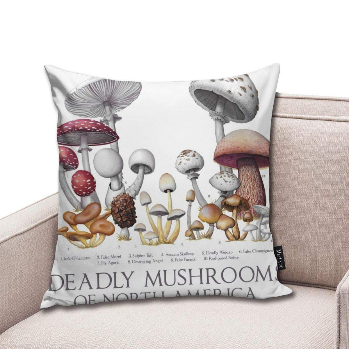 Deadly Mushrooms Of North America Throw Pillow Cover Square New Living Series Decorative Throw Pillow Case Double Side Design 18 X 18 Family Indoor Sofa Car
