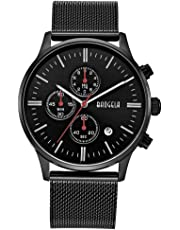 Mens Watch Waterproof, Analog Quartz Wrist Watches Black Stainless Steel Mesh Milanese Band, Chronograph Date - BAOGELA