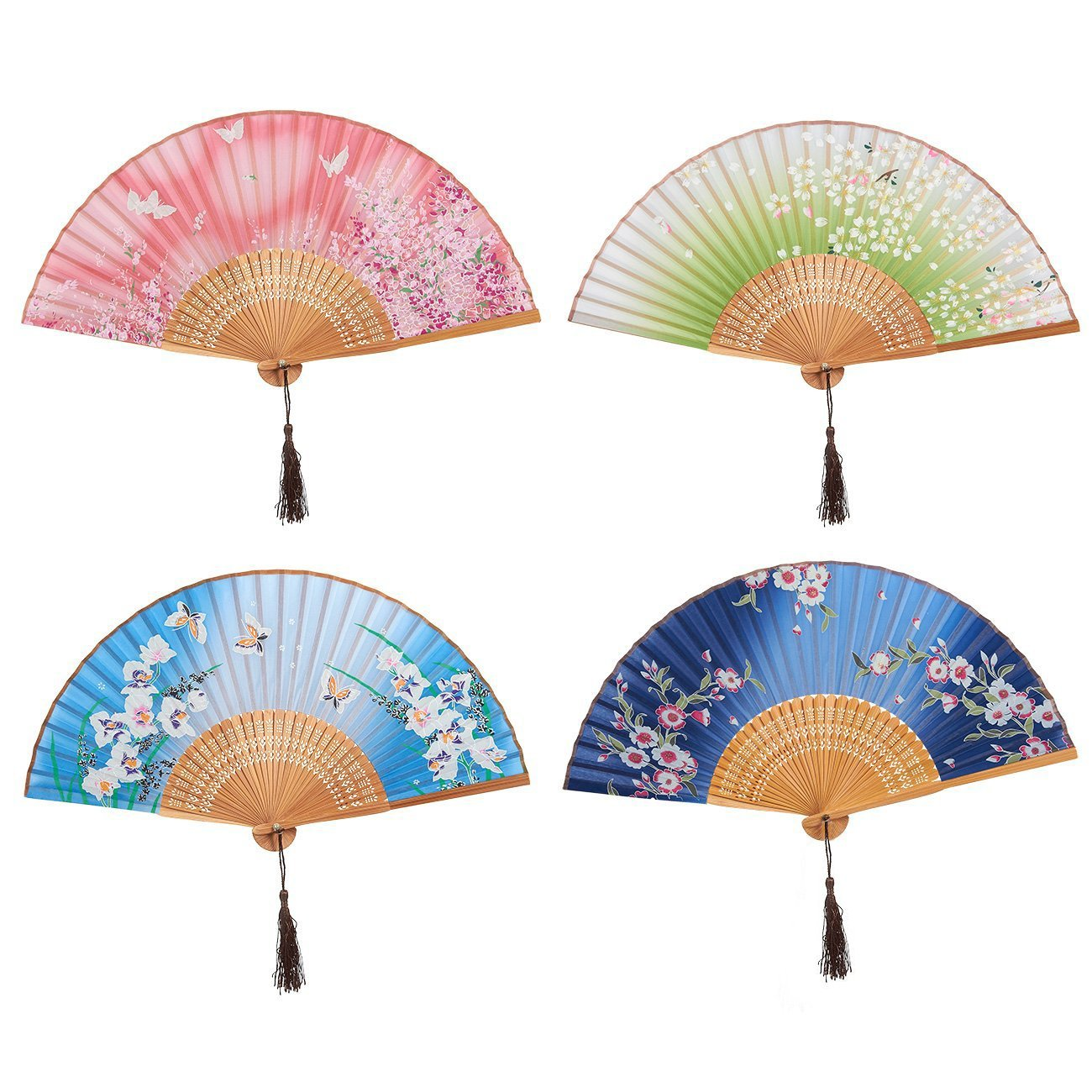 4-Piece Folding Fans - Hand-held Fans Women, 4 Different Japanese Style Colorful Designs Butterfly Floral Illustrations