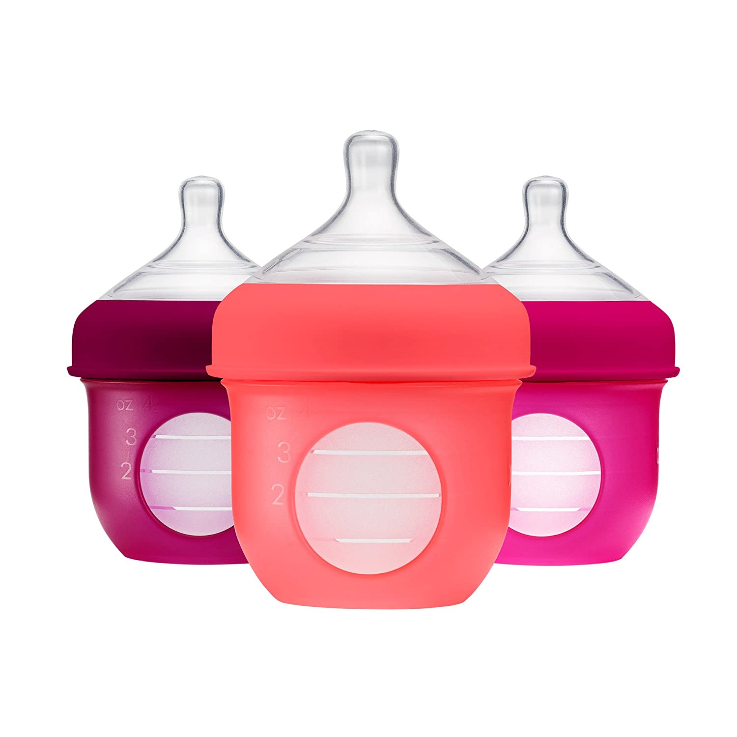 Boon Nursh Silicone Pouch Bottle, 4Oz, 3 Pack - Pink Multi Tomy B11229