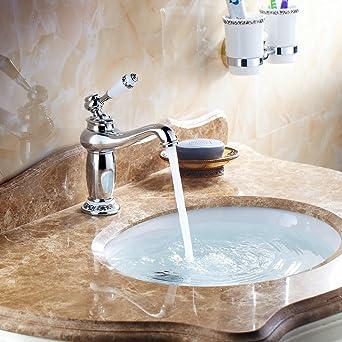 Hiendure® Ottone ponte montato alta arco lavabo rubinetto del ...