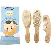 Baby Hair Brush & Comb Set, Organic Wooden Hairbrush Natural Goat Bristles 3-Piece for Newborns & Toddlers, Ideal for…