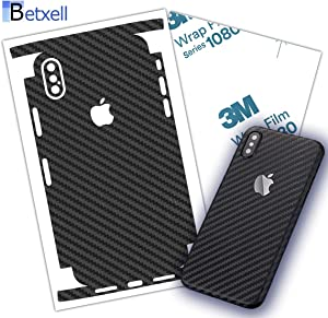 Carbon Fiber 3M 1080 Film iPhone Skin Protective wrap Around Edges Cover Black Skin for iPhone 7, 7 Plus, 8, 8 Plus, X, XR, Xs Max(iPhone X)