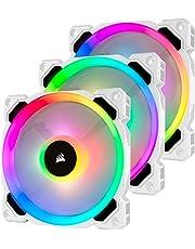 Corsair LL Series, LL120 RGB, 120mm RGB LED Fan, Triple Pack with Lighting Node PRO- White