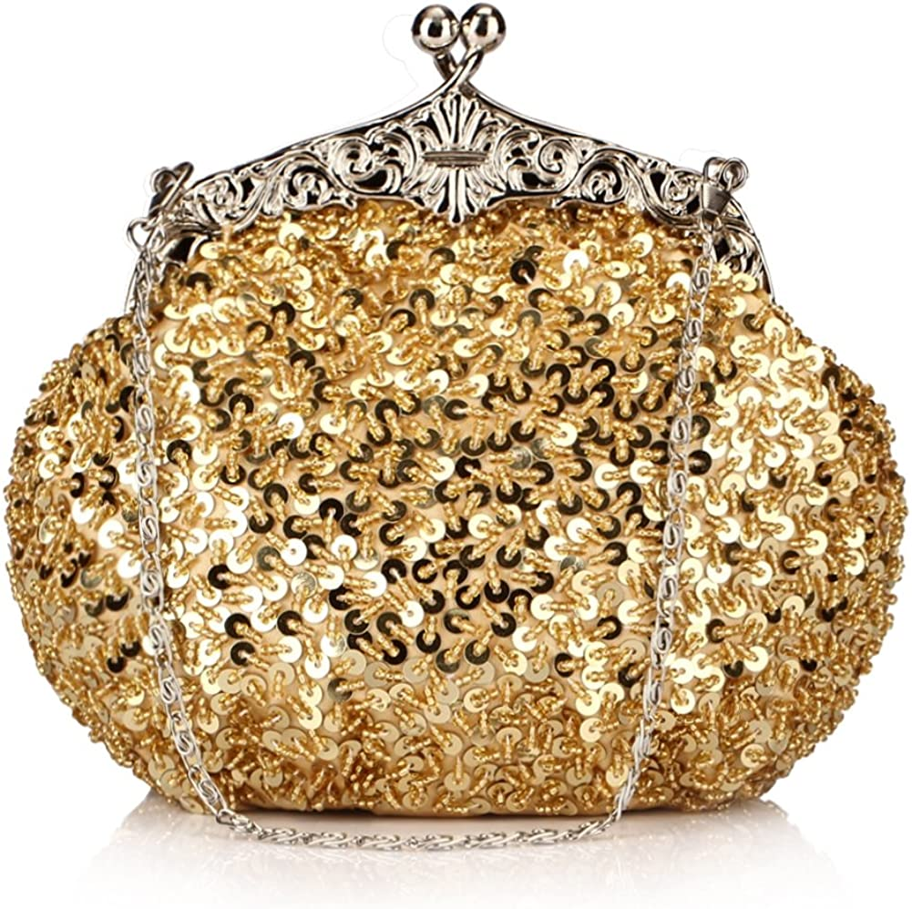 Chicastic Fully Sequined Mesh Beaded Antique Style Formal Cocktail Clutch - Gold