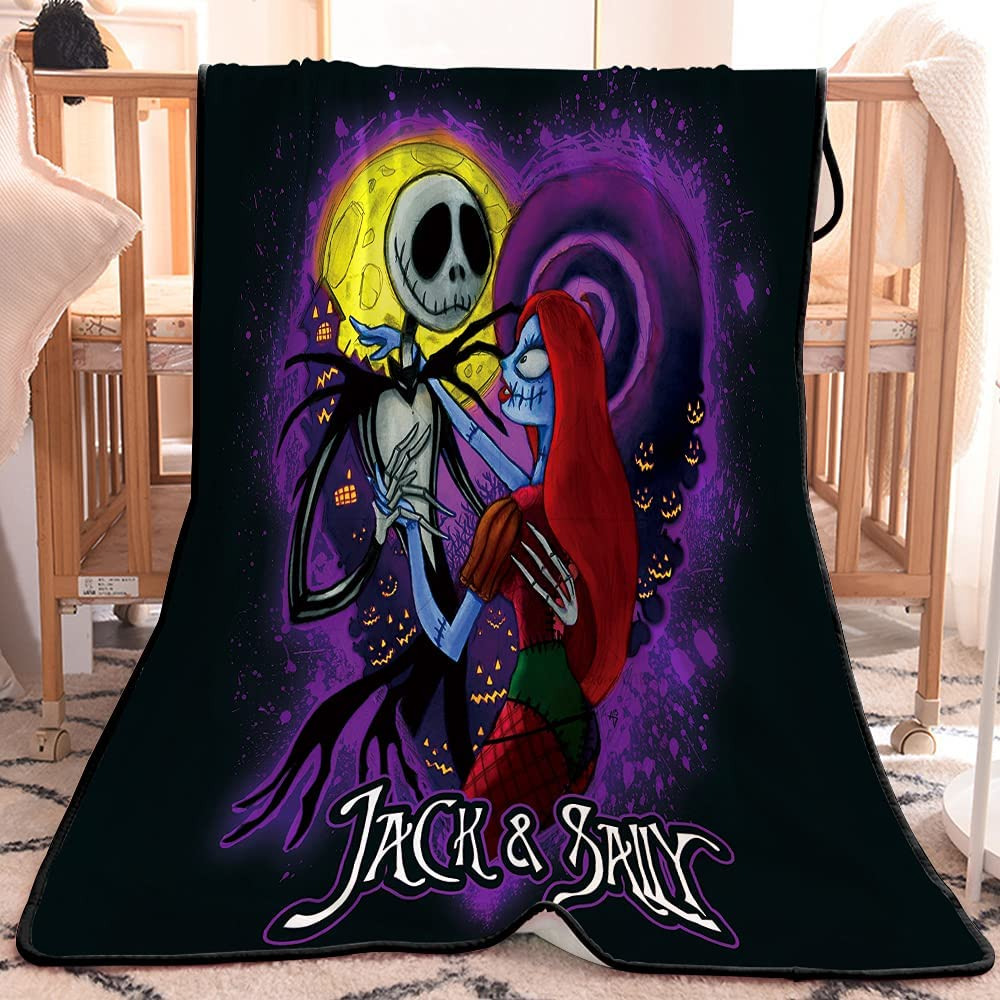 Jack and Sally Nightmare Before Christmas Moonlight Madness Fleece Blanket Throw Gifts Decor Size Halloween Moonlight Soft Cozy Flannel Blankets for Sofa/Chairs/Bed -Lightweight Warm Cozy 60