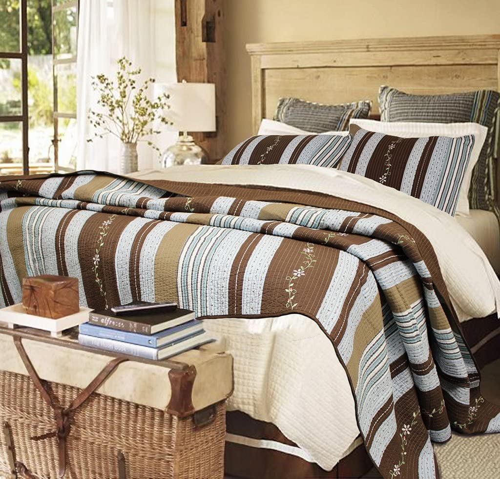 Cozy Line Home Fashions Mary Ann Blue/Brown Striped Floral Flower Embroidered Pattern 100% Cotton Quilt Bedding Set Reversible Coverlet Bedspread for Women(Brown Stripe, King - 3 Piece)