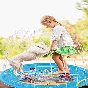 "Flyboo Splash Pad 68"" Sprinkler Mat Water Toys for Kids Toddlers Summer Outdoor Baby Play Water Pool for Boys Girls Party Sprinkler Splash Toy"