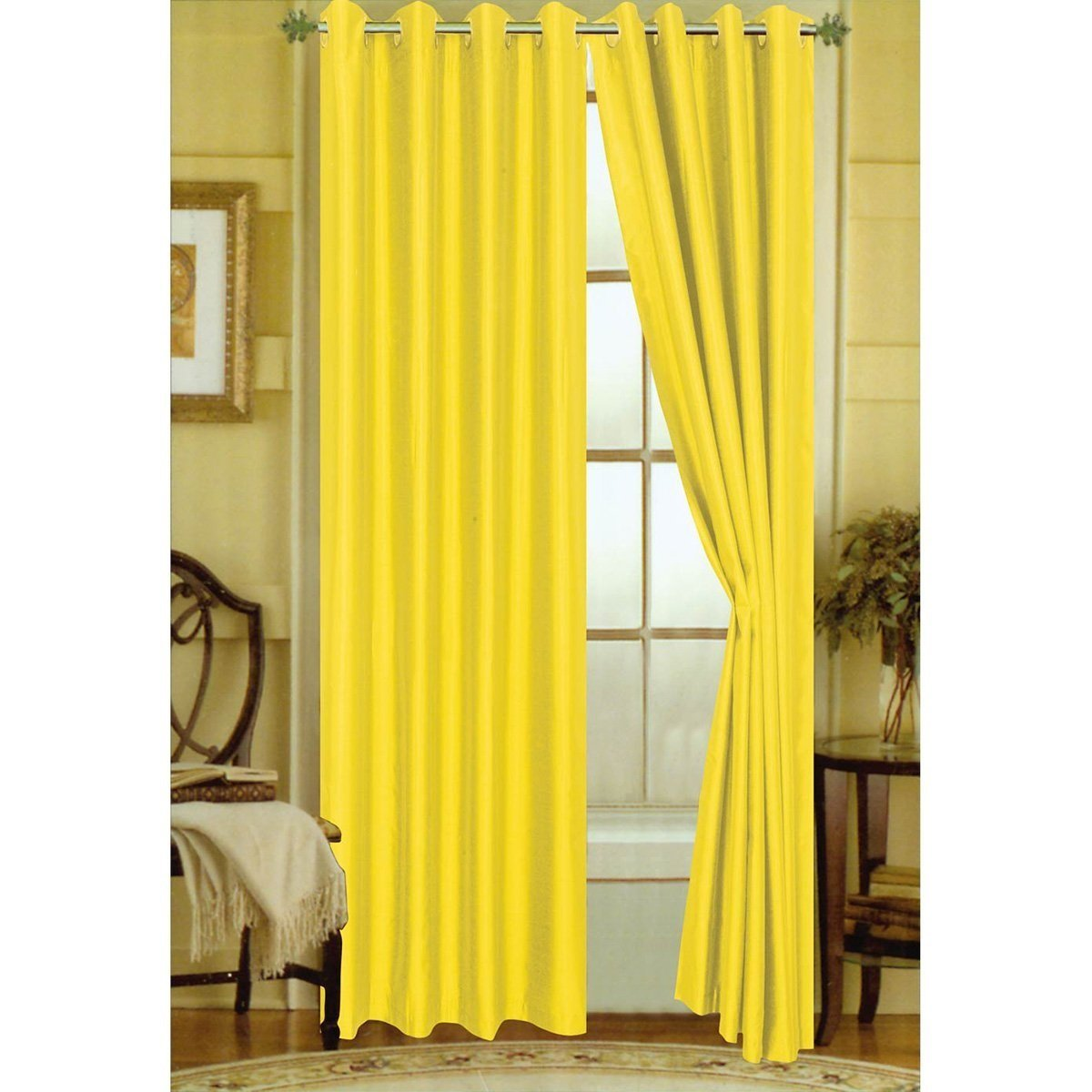 LuxuryDiscounts 2 Piece Solid Yellow Faux Silk Grommet Window Curtain Treatment Panel Drapes