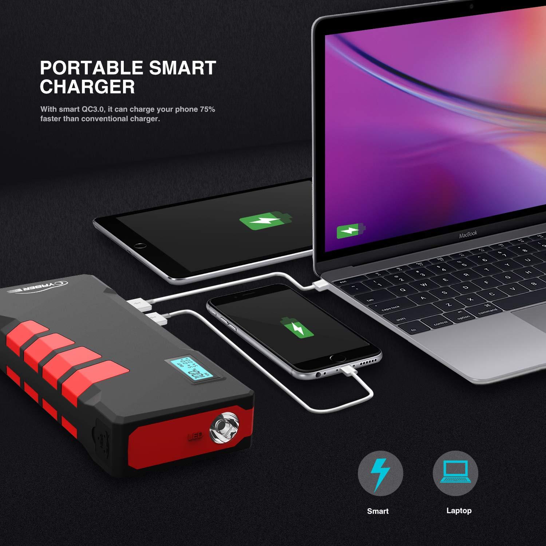 20800mAh pour Voiture Moto C/âble Intelligent-Jump Starter D/émarreur de Voiture YABER Booster Batterie 1000Amp Jusqu/à 7,5L de Essence ou 5,5L Diesel Deux USB QC3.0 et Lampe LED 12V avec /Écran LCD