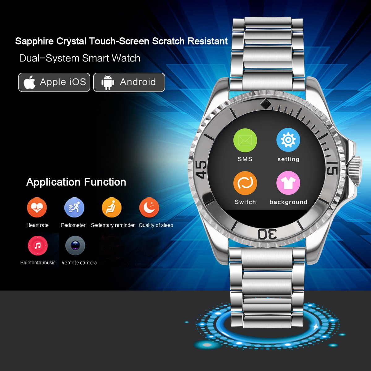 BINLUN Smart Watch Bluetooth Touch Screen Watch for iPhone Android Smartphone