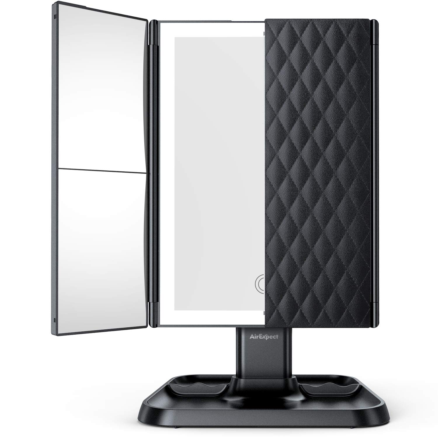 Makeup Mirror Vanity Mirror with Lights - 3 Color Lighting Modes 72 LED Trifold Mirror, Touch Control Design, 1x/2x/3x Magnification, Portable High Definition Cosmetic Lighted Up Mirror (Black)