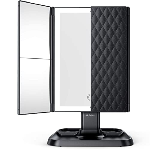 AirExpect Makeup Mirror 3 Color Modes Vanity Mirror – 72 LED Lights Trifold Mirror, Touch Control Design, 2x 3x Magnification, Portable High Definition Cosmetic Lighted Up Mirror-Black