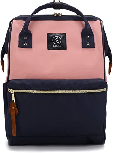 Kah Kee Polyester Travel Backpack Functional Anti-theft School Laptop for Women Men Pink Navy, Large